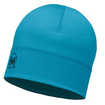 czapka do biegania BUFF MERINO WOOL HAT BUFF SOLID BLUE CAPRI / 113013.718.10
