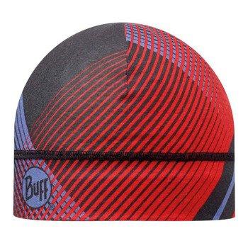 czapka do biegania BUFF MICROFIBER 1 LAYER HAT BUFF RETRO LINES RED / 108907.425.10