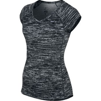 koszulka do biegania damska NIKE PRINTED MILER SHORTSLEEVE V-NECK / 618119-010