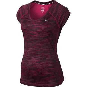 koszulka do biegania damska NIKE PRINTED MILER SHORTSLEEVE V-NECK / 618119-691